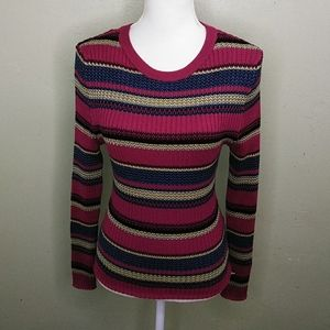 It's Our Time Cranberry Stripe Ribbed Knit Sweater